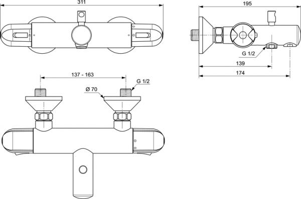 Baterie cada termostatata Ideal Standard Ceratherm 25 1