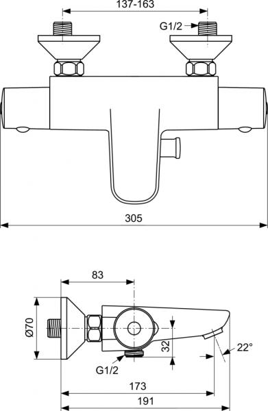 Baterie cada termostatata Ideal Standard Ceratherm 50 1