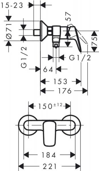 Baterie dus Hansgrohe Logis 1