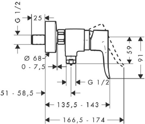 Baterie dus Hansgrohe Metris 1