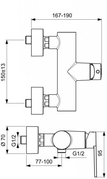 Baterie dus Ideal Standard Gio 1