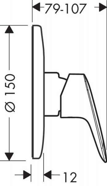 Baterie dus incastrata Hansgrohe Logis - Model 2 - Corp ingropat inclus 2
