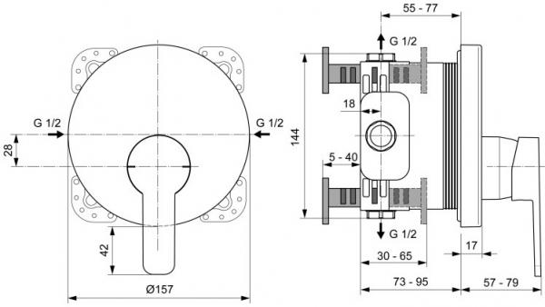 Baterie dus incastrata Ideal Standard Gio [1]