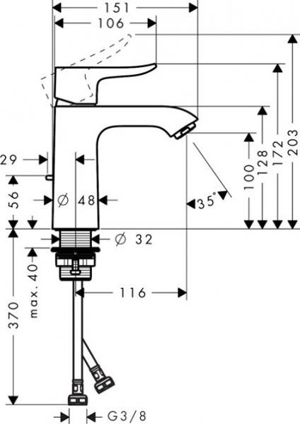 Baterie lavoar Hansgrohe Metris 110 cu ventil Pop UP [5]