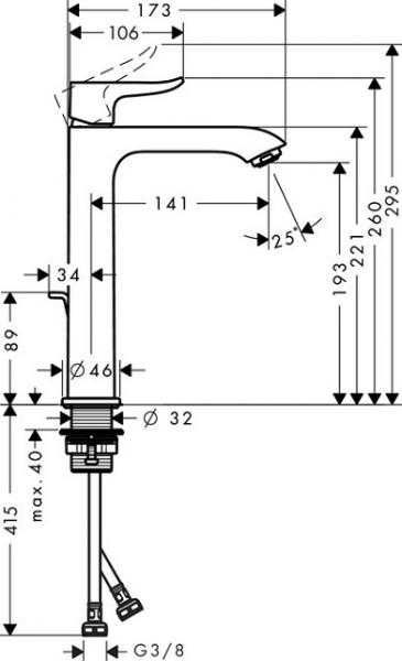 Baterie lavoar Hansgrohe Metris 200 cu ventil Pop UP - Pentru lavoare tip bol 6
