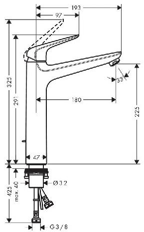 Baterie lavoar Hansgrohe Novus 230 cu ventil Pop UP - Pentru lavoare tip bol [2]