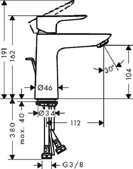 Baterie lavoar Hansgrohe Talis E 110 cu ventil Pop UP 5