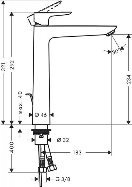 Baterie lavoar Hansgrohe Talis E 240 cu ventil Pop UP - Pentru lavoare tip bol 3
