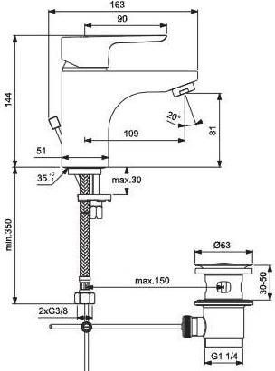 Baterie lavoar Ideal Standard Ceraplan III Grande cu ventil Pop UP 1