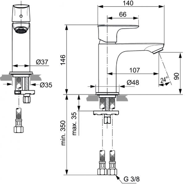 Baterie lavoar Ideal Standard Connect Air 1
