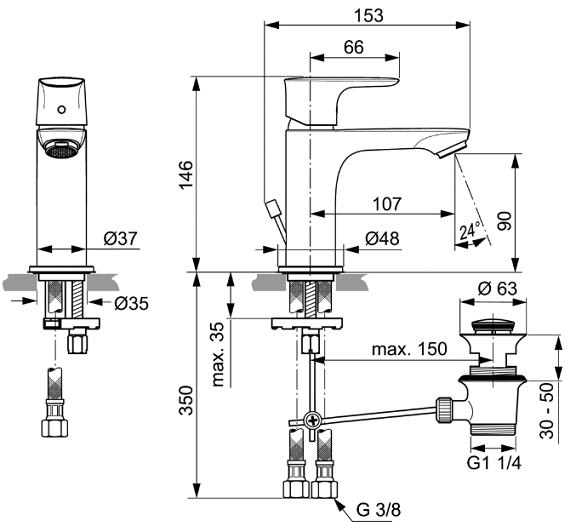 Baterie lavoar Ideal Standard Connect Air cu ventil Pop UP 4