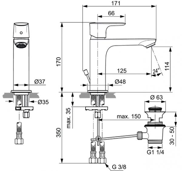 Baterie lavoar Ideal Standard Connect Air Grande cu ventil Pop UP 2