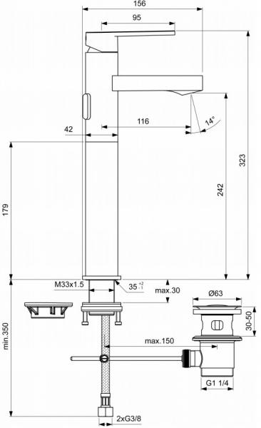 Baterie lavoar Ideal Standard Gio Vessel cu ventil Pop UP - Pentru lavoare tip bol 2