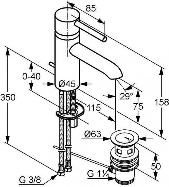 Baterie lavoar Kludi Bozz cu ventil Pop UP 1