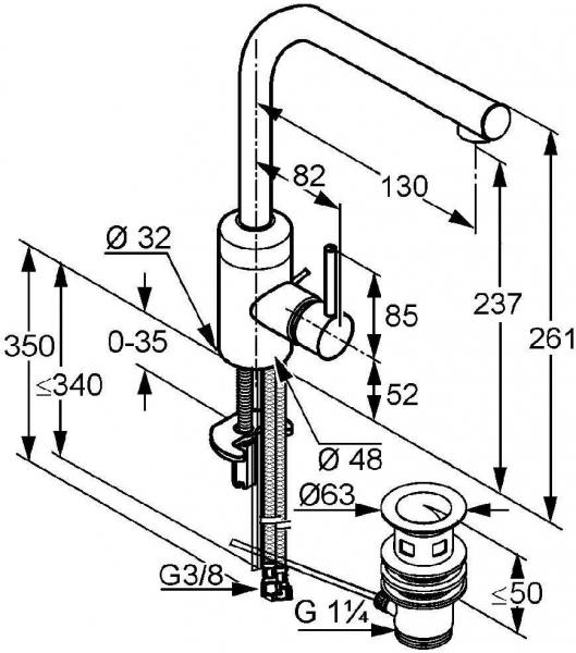 Baterie lavoar Kludi Bozz inalta cu ventil Pop UP 1