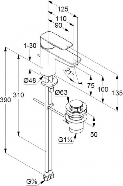 Baterie lavoar Kludi Pure & Style 75 cu ventil Pop UP 4