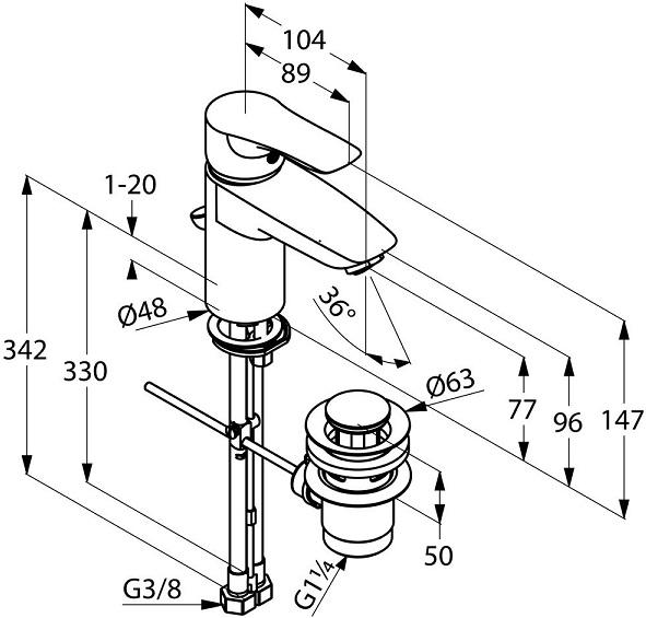 Baterie lavoar Kludi Tercio XL cu ventil Pop UP [1]