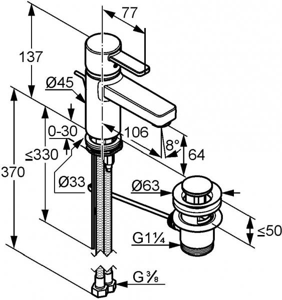 Baterie lavoar Kludi Zenta Alb cu ventil Pop UP 1