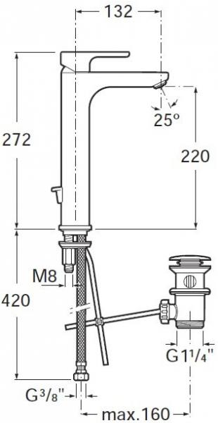Baterie lavoar Roca Atlas cu ventil Pop UP - Pentru lavoare tip bol  1
