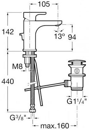 Baterie lavoar Roca L20 cu ventil Pop UP 2