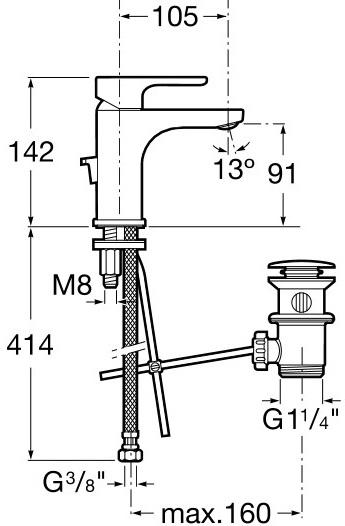 Baterie lavoar Roca L20 XL cu ventil Pop UP 2