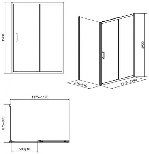 Cabina de dus Cersanit Arteco dreptunghiulara 120 x 90 1