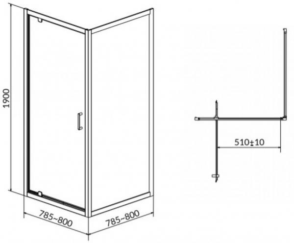 Cabina de dus Cersanit Arteco patrata 80 x 80 - Usa batanta 1