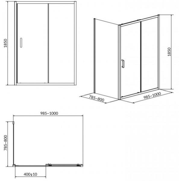 Cabina de dus Cersanit Basic dreptunghiulara 100 x 80 1