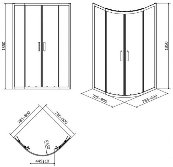 Cabina de dus Cersanit Basic semirotund 80 x 80 1
