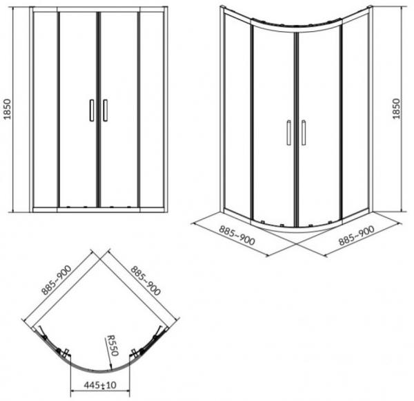 Cabina de dus Cersanit Basic semirotund 90 x 90 1