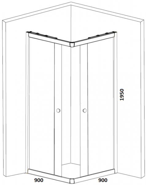 Cabina de dus patrata Belform Clear 90x90 - Inaltime 195 CM 2