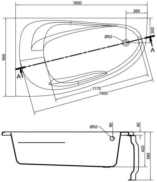 Cada Baie Acril Cersanit Joanna New 160x95 COLT STANGA [5]