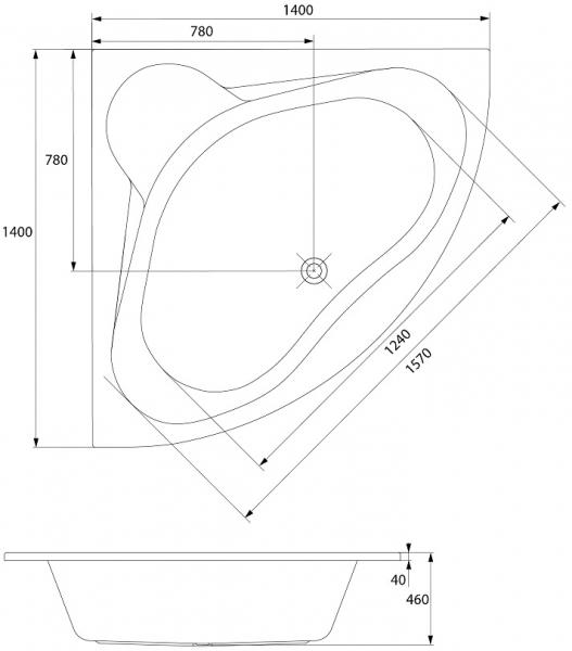 Cada Baie Acril Cersanit Venus 140x140 5
