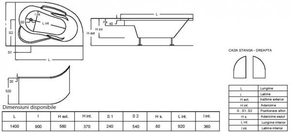 Cada Baie Acril Fibrocom Saturn 140x90 COLT STANGA 3