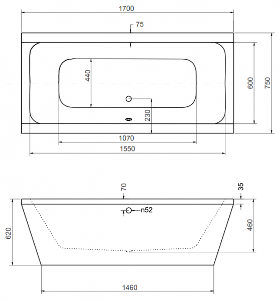 Cada Baie Compozit Besco Vera 170x75 cu masca alba si sifon inclus [5]