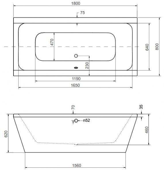Cada Baie Compozit Besco Vera 180x80 cu masca neagra si sifon inclus [3]