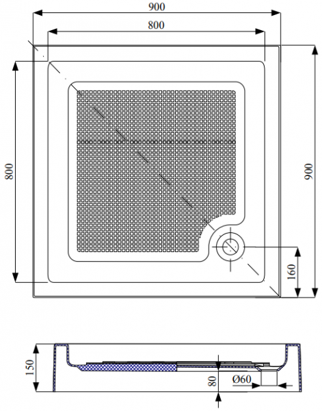 Cadita de dus patrata Belform Cubo 90x90 5