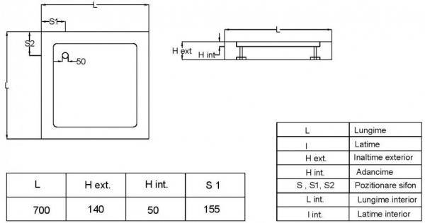 Cadita de dus patrata Fibrocom Mercur 70x70 3