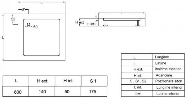 Cadita de dus patrata Fibrocom Mercur 80x80 3
