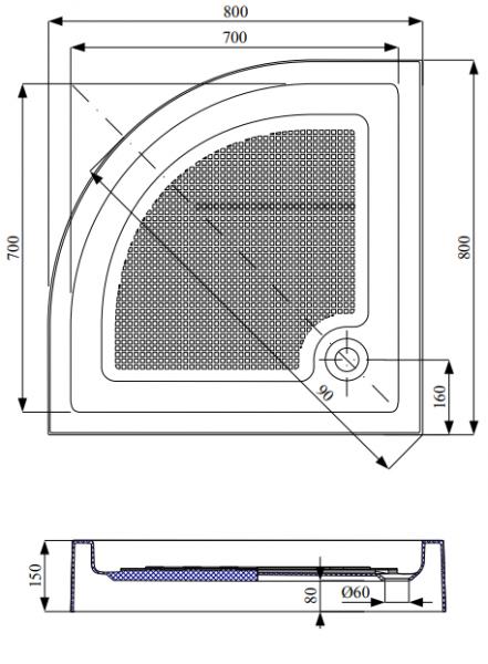 Cadita de dus semirotund Belform Cubo 80x80 [2]