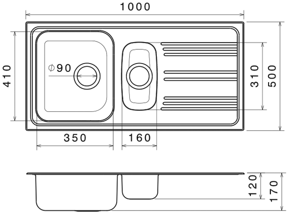 Chiuveta Bucatarie Dubla Inox Anticalcar 1000 x 500 - Model 4 1