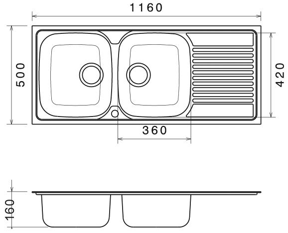 Chiuveta Bucatarie Dubla Inox Anticalcar 1160 x 500 - Model 5 [1]