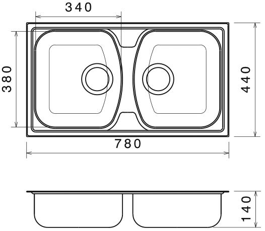 Chiuveta Bucatarie Dubla Inox Anticalcar 780 x 440 - Model 1 1