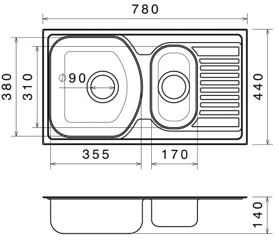 Chiuveta Bucatarie Dubla Inox Anticalcar 780 x 440 - Model 3 1