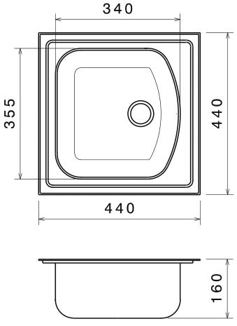 Chiuveta Bucatarie Inox Anticalcar 440 x 440 1