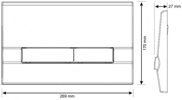 Clapeta actionare rezervor Cersanit Slim&Silent - Adria Crom mat 1