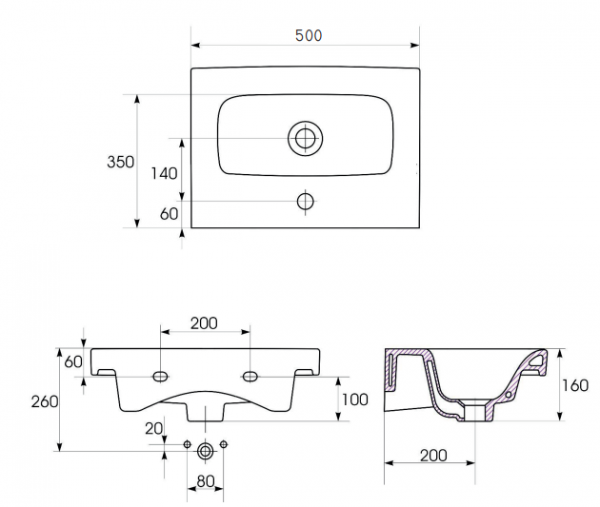 Lavoar Cersanit Moduo 50 CM - Slim (Profunzime 35 CM) 3