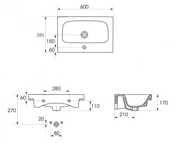Lavoar Cersanit Moduo 60 CM - Slim (Profunzime 38 CM) [2]