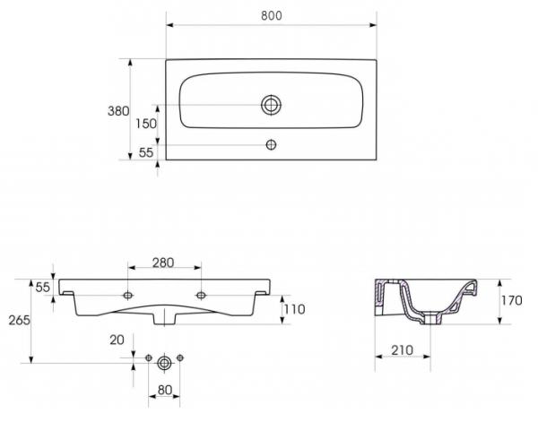 Lavoar Cersanit Moduo 80 CM - Slim (Profunzime 38 CM) [2]