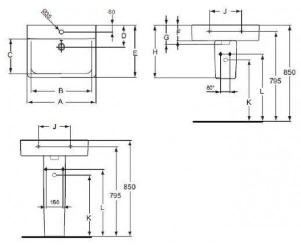 Lavoar Ideal Standard Connect CUBE 65 CM 1